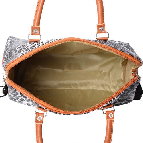 White and Black Colour Leopard Pattern Water ResistantTote Bag (Size 43x16x38 Cm) with Detachable Shoulder Strap