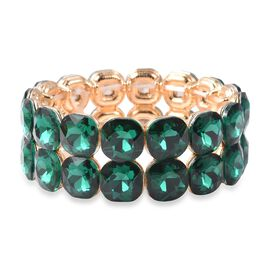 Simulated Emerald Stretchable Bublebar Bracelet in gold Plated 6.5 Inch