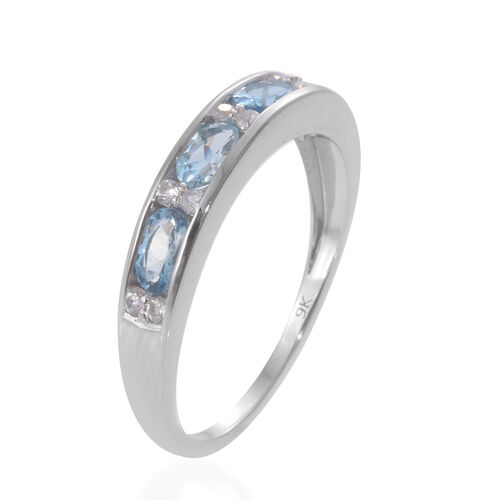 One Time Deal-9K White Gold Santa Maria Aquamarine (Ovl), Natural Cambodian Zircon Half Eternity Ring 1.000 Ct.