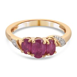 African Ruby Ring in 14K Gold Overlay Sterling Silver 1.300  Ct.