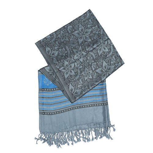 Close Out Deal- Grey Blue Colour Flower and Stripe Pattern Jacquard Scarf (Size 180x70 Cm)
