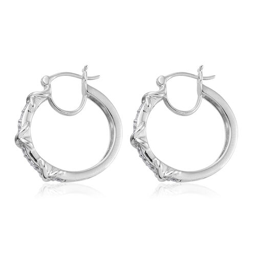 J Francis - Platinum Overlay Sterling Silver (Rnd) Hoop Earrings (with Clasp) Made With SWAROVSKI ZIRCONIA Silver wt 7.00 Gms.