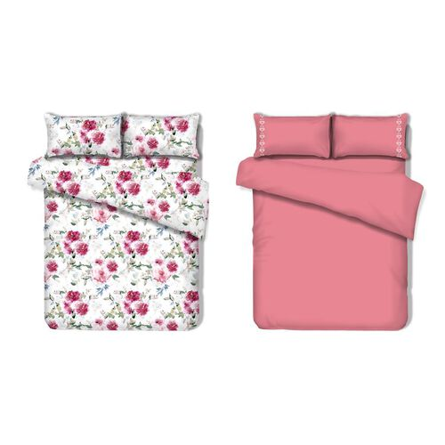 8 Piece Set - 2xFlat Sheet, 2xFitted Sheet and 4xPillow Case (Size Double) - Pink, White and Multi