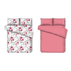 8 Piece Set - 2xFlat Sheet, 2xFitted Sheet and 4xPillow Case (Size King) - Pink, White and Multi