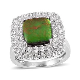 4.5 Ct Canadian Ammolite and White Zircon Halo Ring in Sterling Silver 6.8 Grams