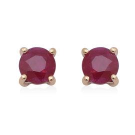 ILIANA 18K Yellow Gold AAAA Burmese Ruby Stud Earrings (with Push Back) 1.00 Ct.