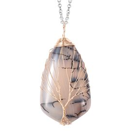 Grey Agate Pendant with Chain (Size 24) in Yellow Gold Tone 85.00 Ct.