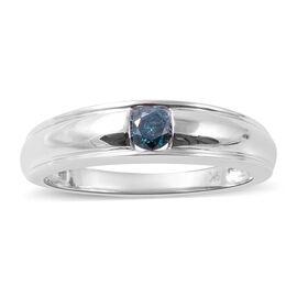 9K White Gold Blue Diamond (Rnd) Ring 0.25 Ct.