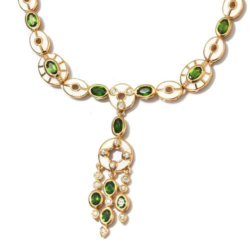 Russian Diopside and Natural Cambodian Zircon Enamelled Necklace (Size 18 with 2 inch Extender) in 14K Gold Overlay Sterling Silver wt. 34.00 Gms