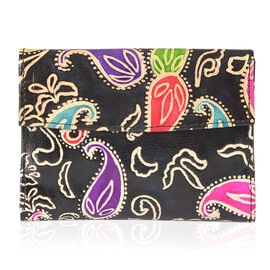 100% Genuine Leather  Multi Colour Paisley RFID Blocker Pattern Ladies Wallet (Size 14x10x1.5 Cm)