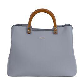 Inyati Inita Wooden Handle Grab Bag (Size 22x26x11.5 Cm) - Mid Grey