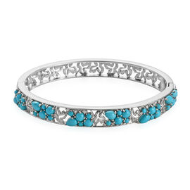7.55 Ct Sleeping Beauty Turquoise and Zircon Maple Leaf Bangle in Platinum Plated Silver 7.5 Inch