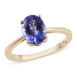 1.50 Ct Tanzanite Solitaire Ring in 9K Yellow Gold 1.61 Grams