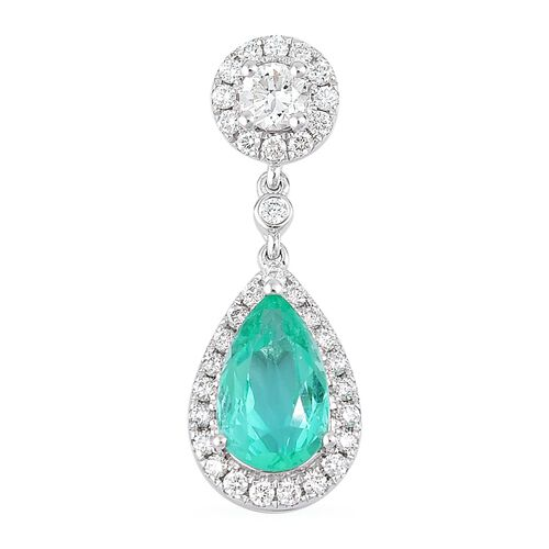 One of a Kind- ILIANA 18K White Gold AAA Boyaca Colombian Emerald (Pear) Diamond (Si/G-H) Teardrop Pendant 1.618 Ct.