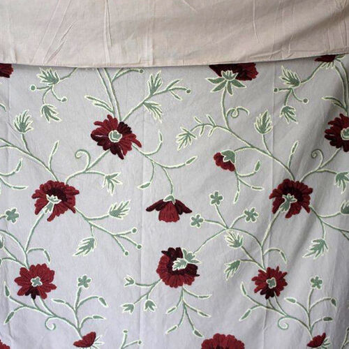 Hand Embroidery from Kashmir-100% Wool on Canvas White, Red and Green Floral and Leaves Pattern Blanket (Size 160X140 Cm)