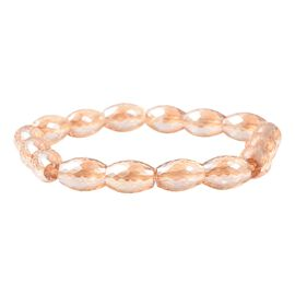 Champagne Colour Barrel Beaded Stretchable Bracelet 7 Inch