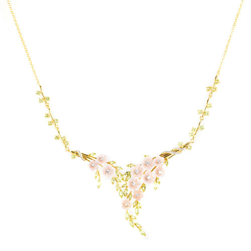 Jardin Collection-Pink Mother of Pearl, Hebei Peridot and Natural White Cambodian Zircon Floral Necklace (Size 18 with 2 inch Extender) in Rhodium and Gold Overlay Sterling Silver, Silver wt 16.38 Gms