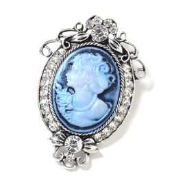 White Austrian Crystal (Rnd) Cameo Brooch in Silver Tone