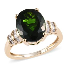 Extremely Rare 9K Yellow Gold Russian Diopside (Ovl 11x9 mm), Diamond Ring 3.75 Ct.