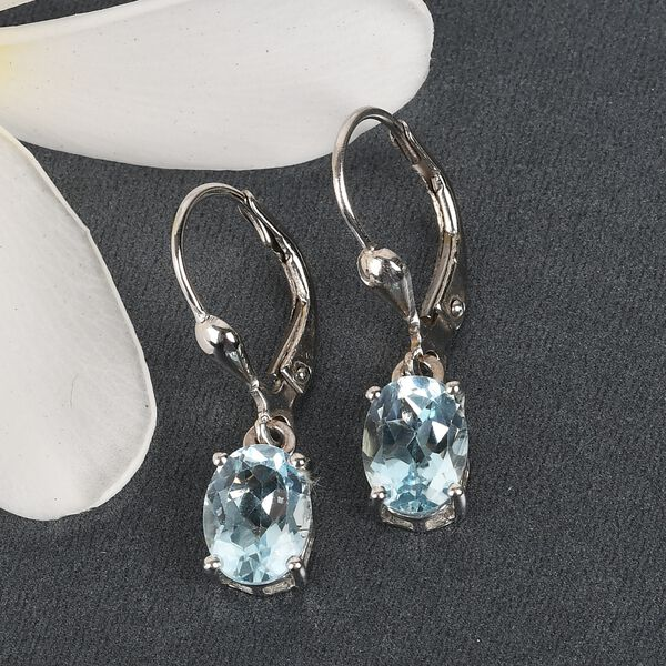 MP - AA Sky BlueTopaz (Ovl) Lever Back Earrings in Platinum Overlay Sterling Silver 2.96 Ct.