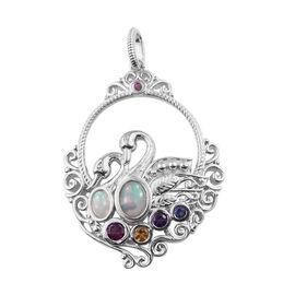 GP 1.87 Ct Ethiopian Opal and Multi Gemstones Pendant in Platinum Plated Sterling Silver 10.99 Grams