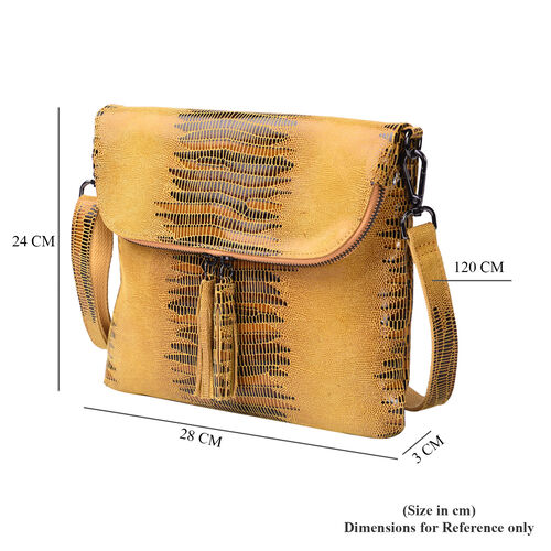 Lizard Skin Pattern 100% Genuine Leather Crossbody Bag with Detachable Shoulder Strap and Tassel (Size 28x3x24cm) - Mustard