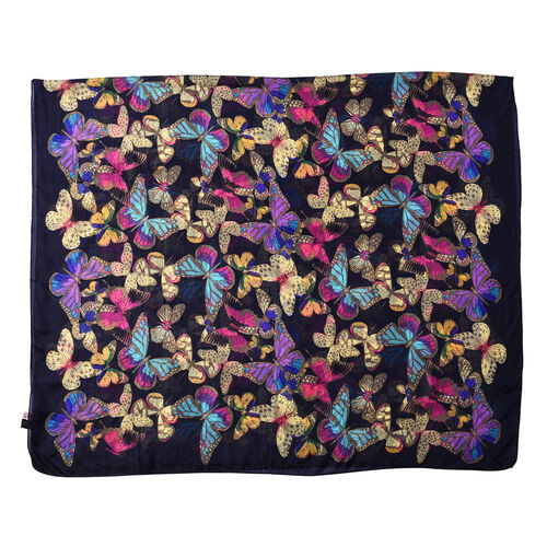 LA MAREY New Collection - 100% Mulberry Silk Colourful Butterfly Print Scarf (Size 180x110cm) - Navy