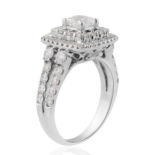 Close Out Deal -  14K White Gold Diamond (Sqr and Rnd) (I1-I2/G-H) Ring 1.754 Ct., Gold Wt. 5.10 Gms.Center Dia 0.62 Cts