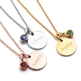Personalised Engraved Birthstone and Name Disc with 20Inch Chain in Silver