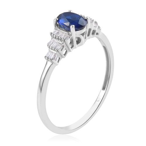Tanzanian Blue Spinel and Diamond Ring in Platinum Overlay Sterling Silver 1.00 Ct.