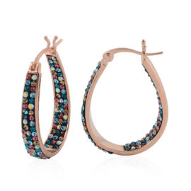 Vicenza Collection- Multi Colour Austrian Crystal Hoop Earrings (with Clasp) in Rose Gold Plated