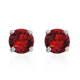 J Francis - Crystal from Swarovski Light Siam Crystal (Rnd) Stud Earrings (with Push Back) in Platin