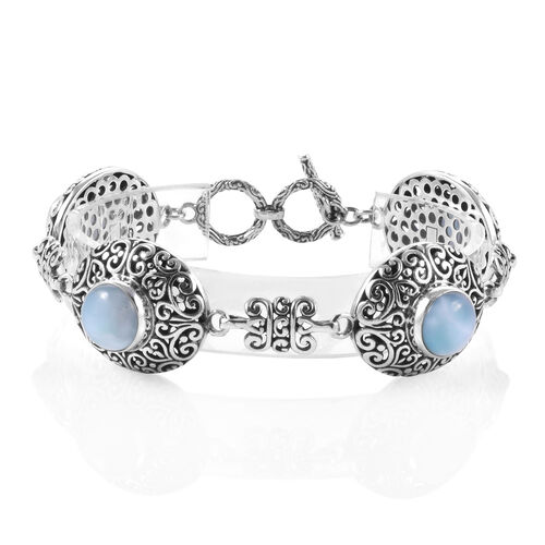 Royal Bali Collection Larimar (Rnd) Bracelet (Size 7.5) with T Lock in Sterling Silver 18.000 Ct. Si