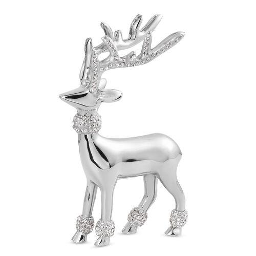 Home Decor - Designer Inspired - Chic Modern Reindeer Ornament - Austrian Crystals in Silver Tone