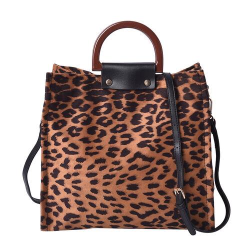 Stylish Leopard Pattern Velvet Middle Size Tote Bag with Detachable and Adjustable Shoulder Strap (S