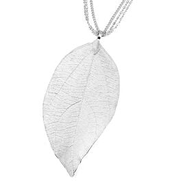 Leaf Pendant With Three String Chain (Size 29 with 2.5 Inch Extender) in Silver Plated
