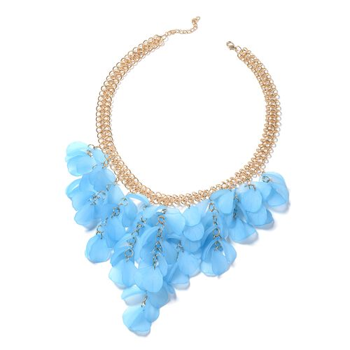 Blue Flower Petals BIB Necklace (Size 20) in Gold Bond.
