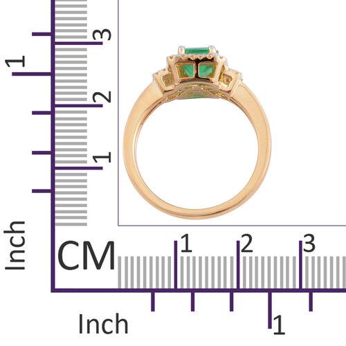 ILIANA 18K Yellow Gold AAA Boyaca Colombian Emerald (Oct) Diamond (SI/G-H) Ring 1.830 Ct.