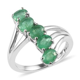 1.50 Ct Brazilian Emerald Crossover 5 Stone Ring in Platinum Plated Silver