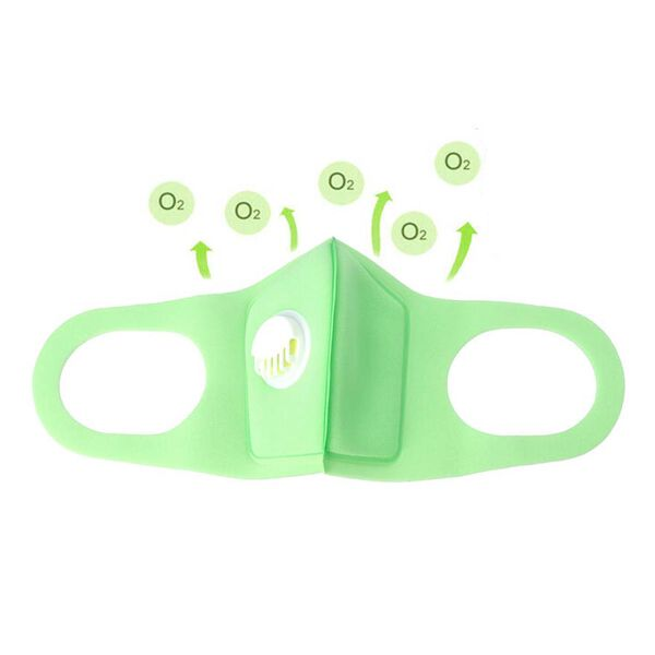 Reusable Anti Dust Face Cover with Breathing Valve (Size 13x16 Cm) - Green