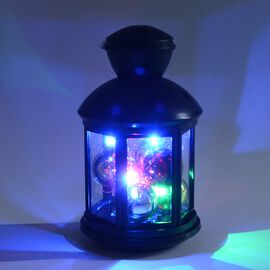 Home Decor - Lantern Filled with 6 Balls and LED (Size 12x20.6 Cm) - Black (3xAA Battery not Include