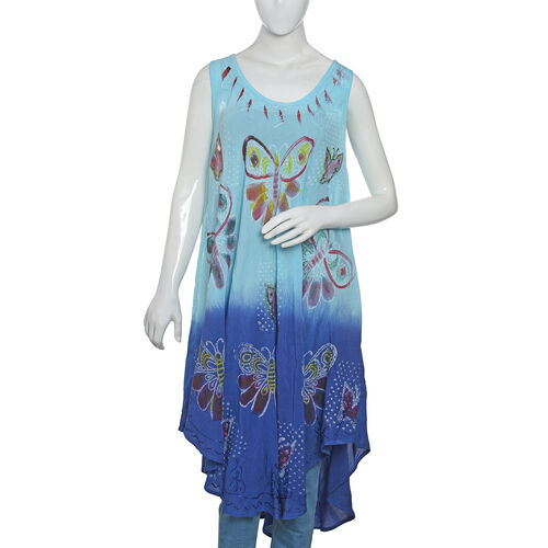 New For Season - Sky Blue, Dark Blue and Multi Colour Butterfly Embroidered Apparel (Free Size)