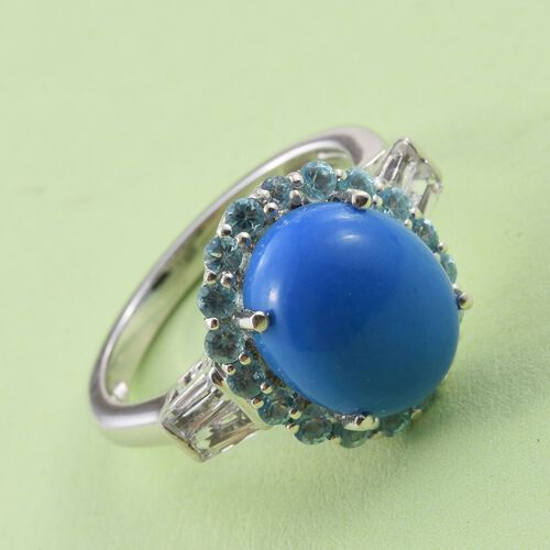 Ceruleite (Ovl 3.50 Ct), Paraiba Apatite and White Topaz Ring in Platinum Overlay Sterling Silver 4.820 Ct.