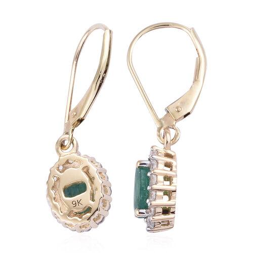 9K Yellow Gold AA Kagem Zambian Emerald (Ovl 7x5 mm), Natural Cambodian Zircon Lever Back Earrings 2.000 Ct.