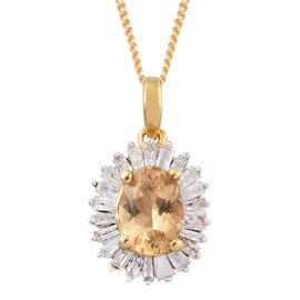 1.10 Ct Imperial Topaz and Diamond Halo Pendant With Chain in Gold Plated Silver