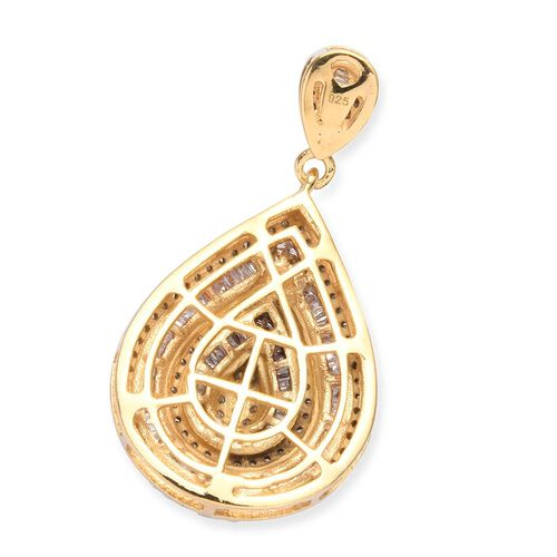 Diamond Cluster Drop Pendant in 14K Gold Overlay Sterling Silver 1.00 Ct.