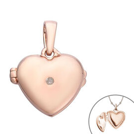 Diamond Open Heart Locket Pendant in Rose Gold Overlay Sterling Silver 0.02 Ct.