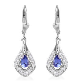 Tanzanite and Natural Cambodian Zircon Lever Back Dangling Earrings in Platinum Overlay Sterling Sil