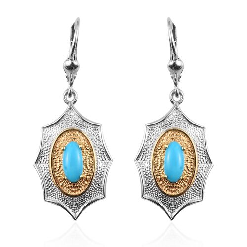 Arizona Sleeping Beauty Turquoise Lever Back Earrings in Platinum and Yellow Gold Overlay Sterling S