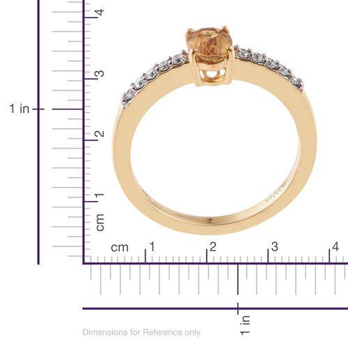 ILIANA 18K Yellow Gold 0.98 Ct AAA Yellow Sapphire Ring with Diamond SI G-H
